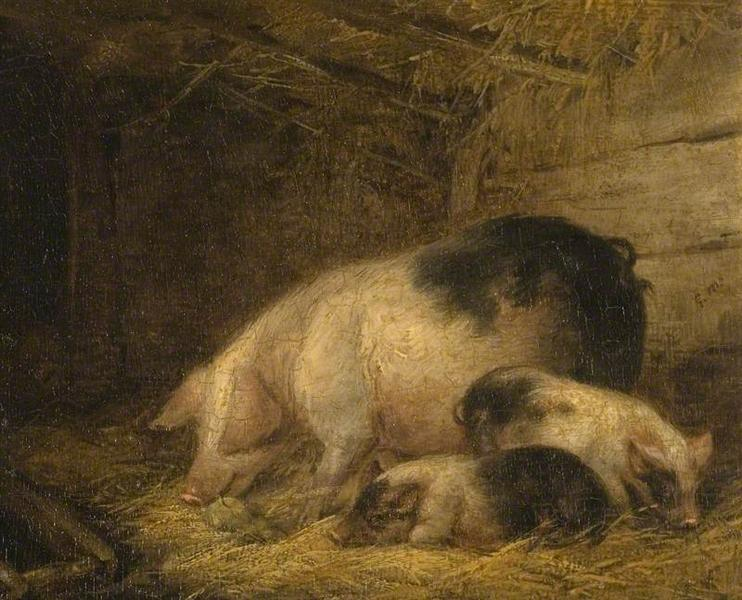 George Morland, Sow and Piglets in a Sty, unknown date, Watford Museum, Watford, England, pigs in painting