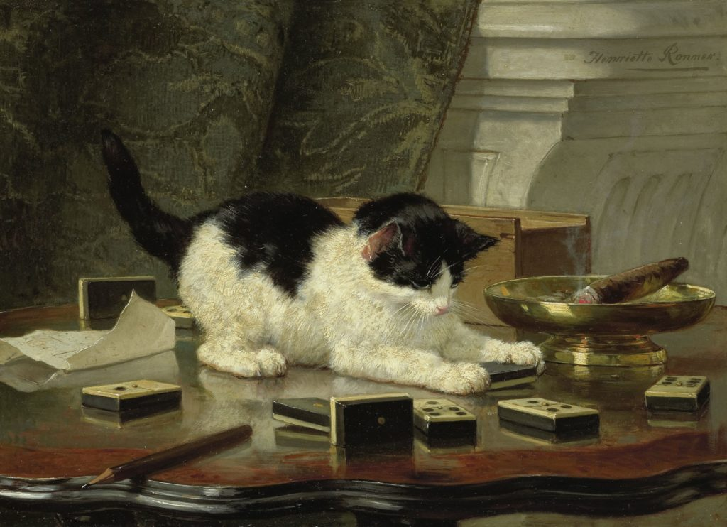 cats in art Henriëtte Ronner, The cat at play, c. 1860 - c. 1878, Rijksmuseum