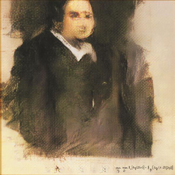 AI for Obvious, Portrait of Edmond de Belamy, 2018. Source: Wikimedia, AI painting