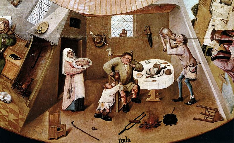 Hieronymus Bosch or follower, The Seven Deadly Sins, 1500-1525, Museo del Prado, fat thursday
