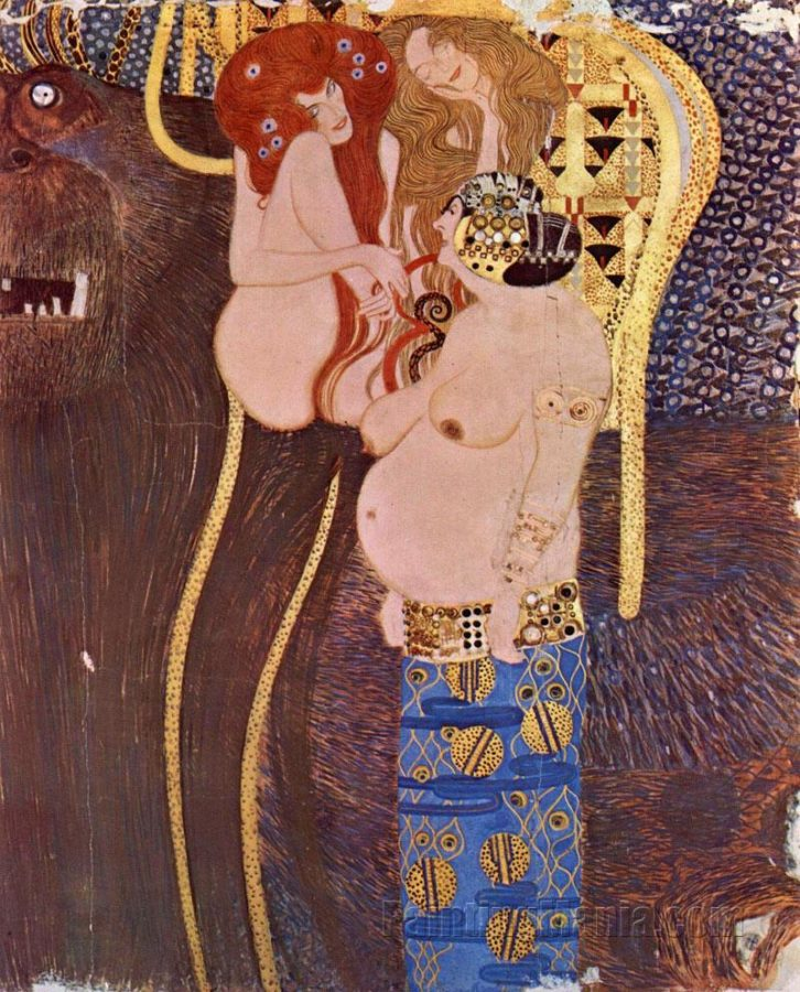 Gustav Klimt, Central narrow wall (detail): Unchastity, Lust and Gluttony, 1902, Secession Building, Vienna, fat thursday