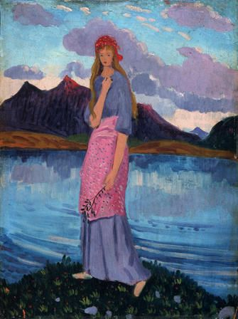 The Arenig School: James Dickson Innes, Girl Standing by a Lake, 1911-12, National Museum of Wales, Cardiff, Wales, UK.