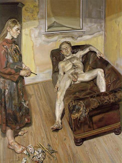 Lucian Freud, Painter and model, 1987, private collection, celia paul and her art in the shadow