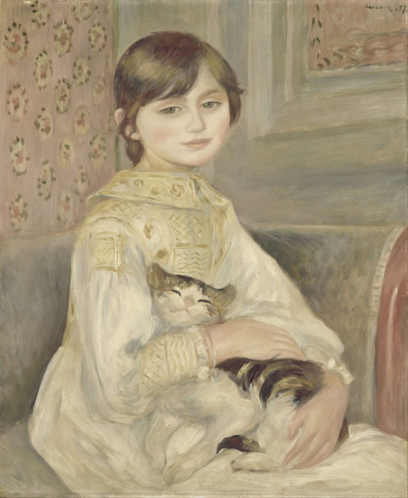 cats in art Pierre-Auguste Renois, Julie Manet also known as Child with cat, 1887, Musée d'Orsay, Paris