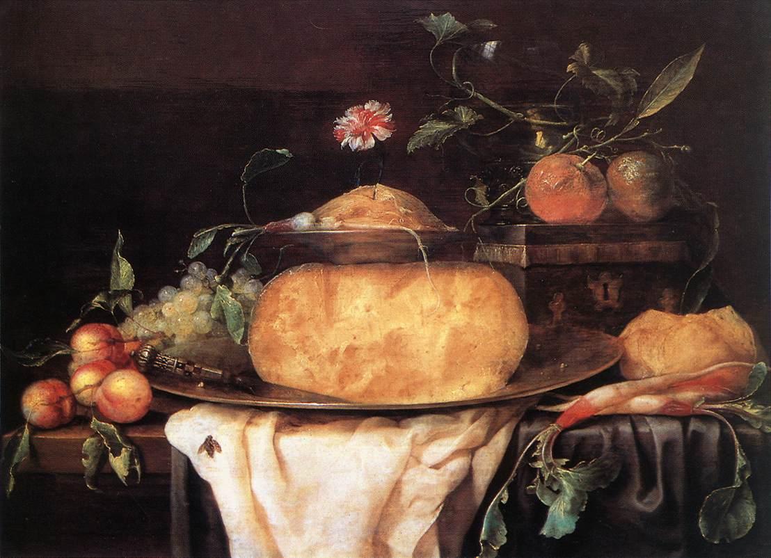 Joris van Son, Still-Life with Cheese, 1650s, Palais des Archevêques, Tours, cheese in painting