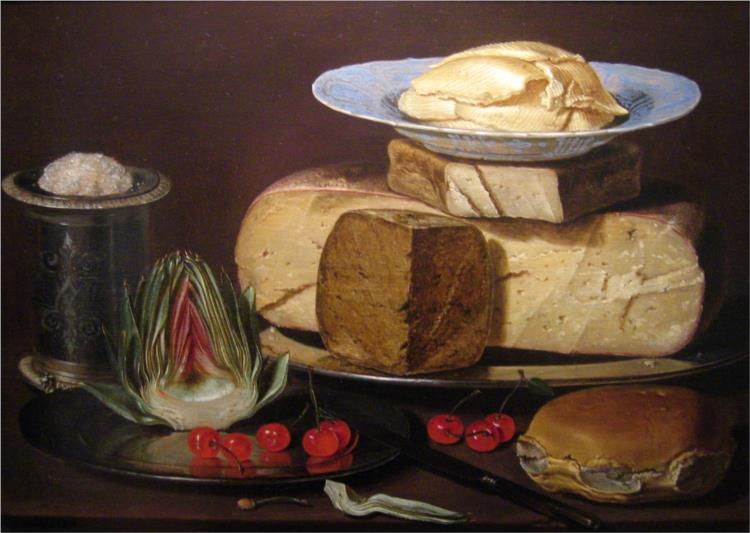 Clara Peeters, Still Life with Cheeses, Artichoke, and Cherries, 1625, Los Angeles County Museum of Art (LACMA), Los Angeles, CA, USA.