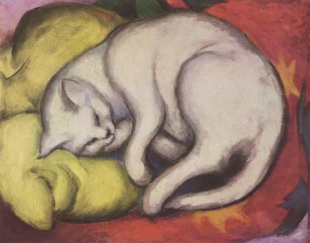 cats in art Franz Marc, The White Cat, 1912, Staatliche Galerie Moritzburg