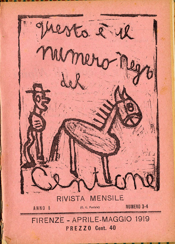 Ottone Rosai, april- may 1919 cover black editionof Il Centone, Archivio Fondazione Primo Conti, Firenze; Artista Bambino at Fondazione Ragghianti in Lucca