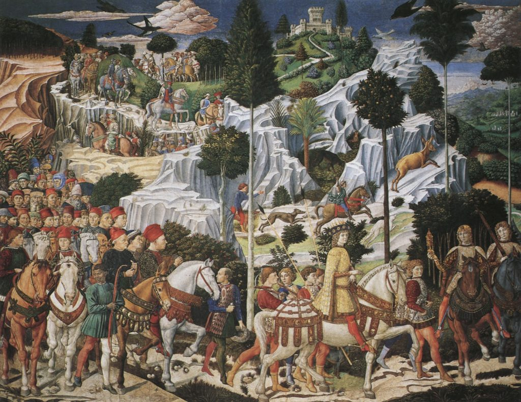 (14) Benozzo Gozzoli, Journey of the Magi, East Wall, Medici Chapel, 1459 Medici. Rich Sinners