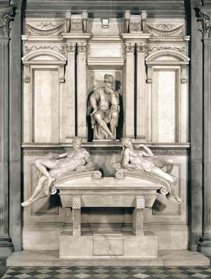 Tomb of Giuliano di Lorenzo de' Medici with Night and Day, Michelangelo. c1524; Medici. Rich Sinners