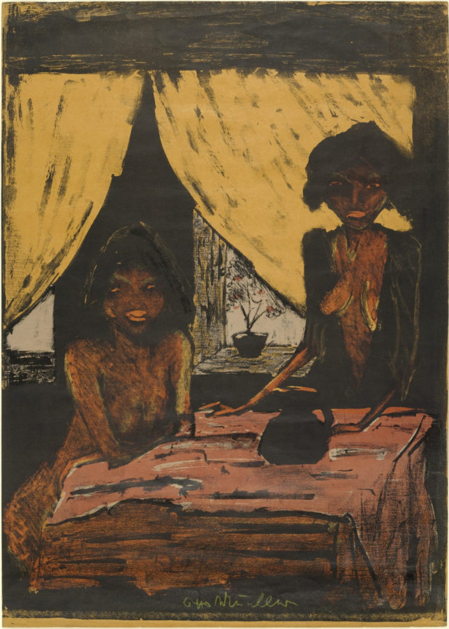 Otto Mueller, Two Gypsy Girls in Living Room (Zwei Zigeunermädchen im Wohnraum) from the portfolio Gypsies (Zigeuner), 1927, MoMA, die brucke's magician