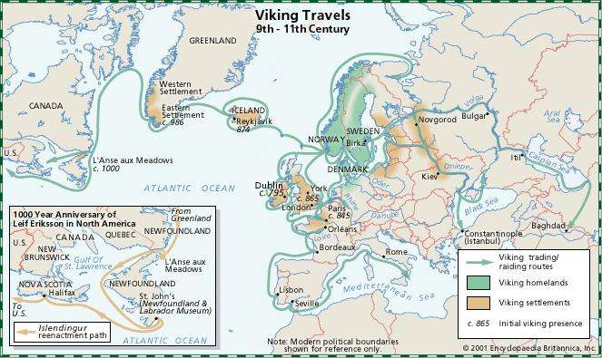 Viking Art: Routes of travel and settlements by the Vikings from the 9th century to the 11th century.
