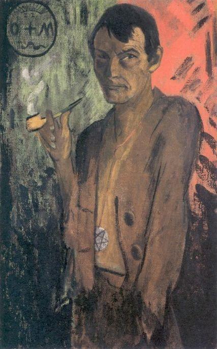 Otto Mueller, Self Portrait with Pentagram, c. 1924, Von der Heydt-Museum, Wuppertal, die brucke's magician