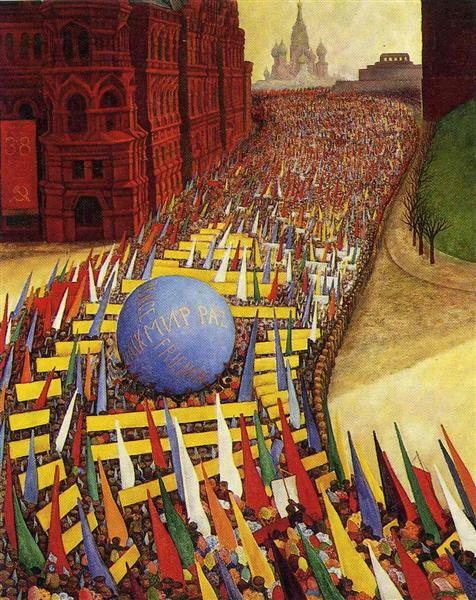 Diego Rivera, May Day Procession in Moscow, 1956, private collection, first of may