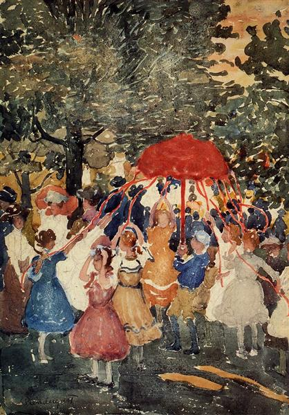 Maurice Prendergast, maypole, 1903, Allen Memorial Art Museum (AMAM), Oberlin, OH, US , first of may