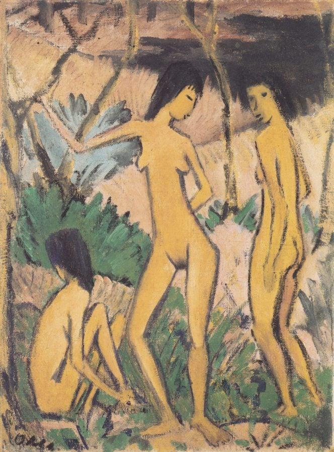 Otto Mueller, Three Acts in a Landscape (Drei Akte in Landschaft), 1919, Brücke Museum, Berlin, Germany, die brucke's magician