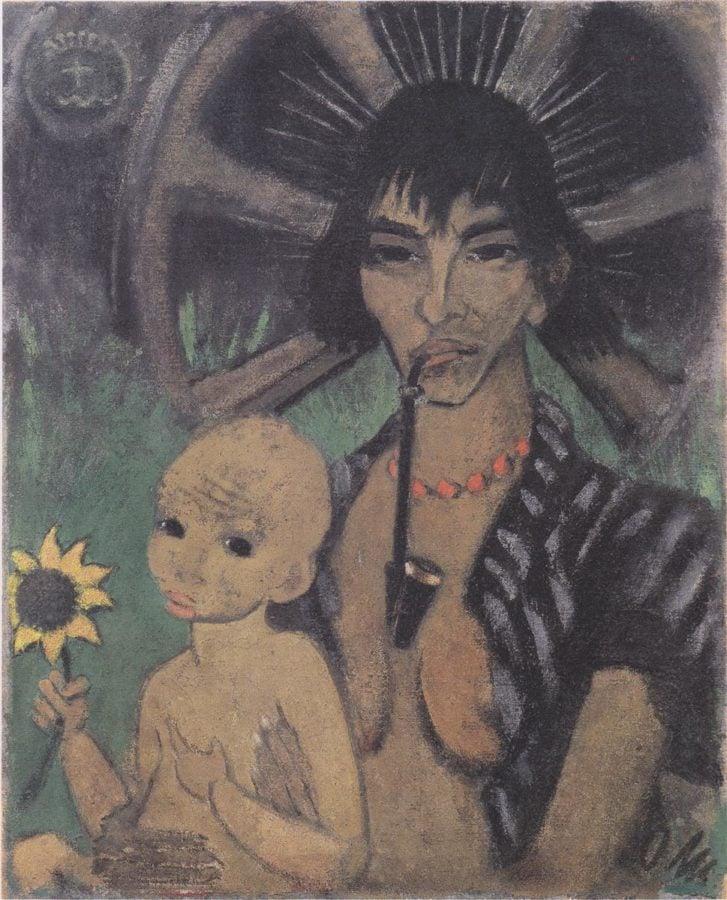 Otto Mueller, Zigeunermadonna, 1926, Hessisches Landesmuseum Darmstadt, Darmstadt, Germany, die brucke's magician