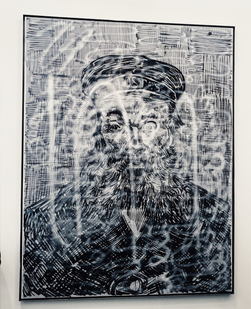 Zhao Zhao, Portrait of Joseph Roulin, Chrome spray paint and embroidery on silk, 2019; Frieze Art Fair New York