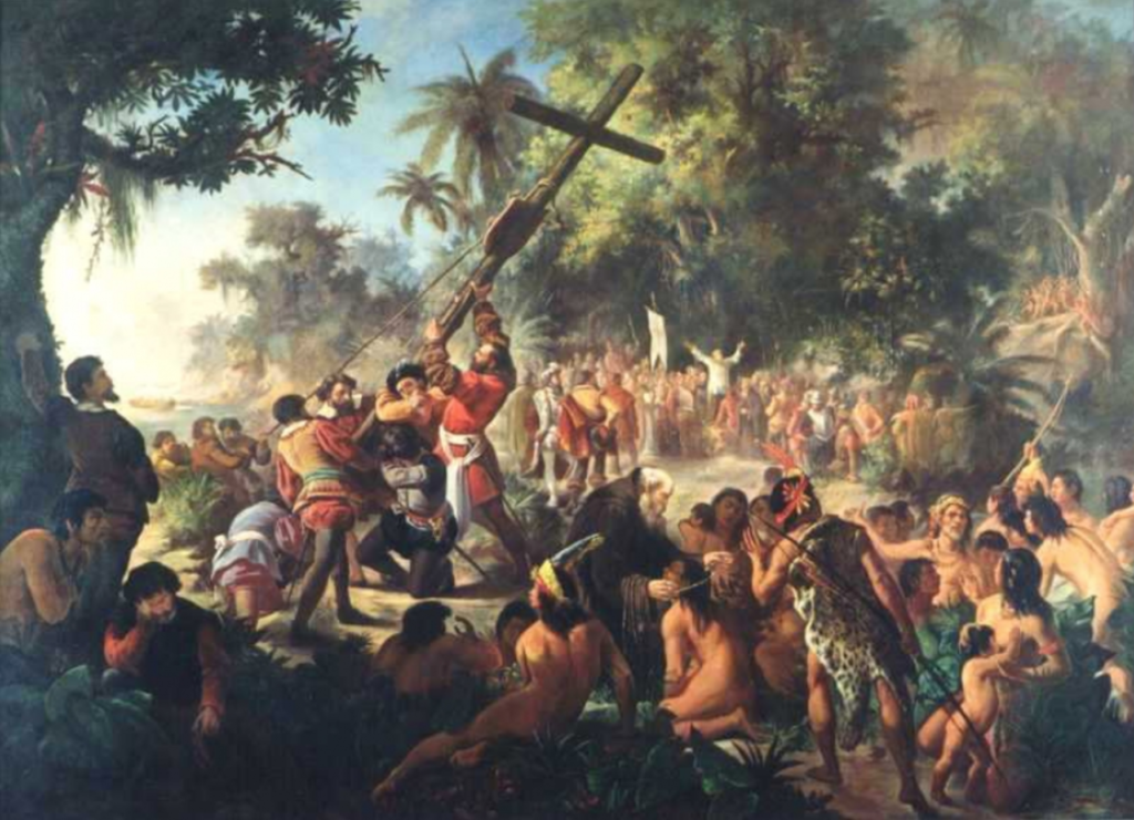 Pedro Peres, Elevation Of the Cross in Porto Seguro, 1879, Museu Nacional de Belas Artes, Rio de Janeiro, Brazilian painting