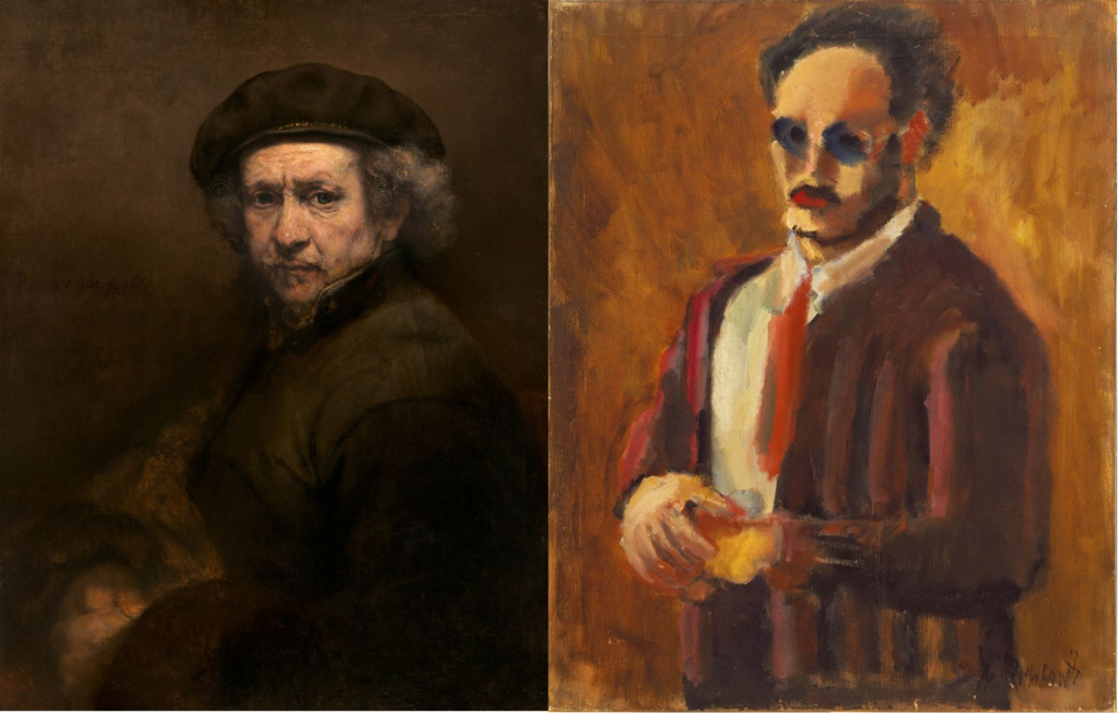 early rothko On the left: Rembrandt van Rijn, Self-Portrait, 1659 © National Gallery of Art, Washington, D.C., Andrew W. Mellon Collection. On the right: Mark Rothko, Self-Portrait, 1936 © 1998 Kate Rothko Prizel and Christopher Rothko/Bildrecht Wien, 2019