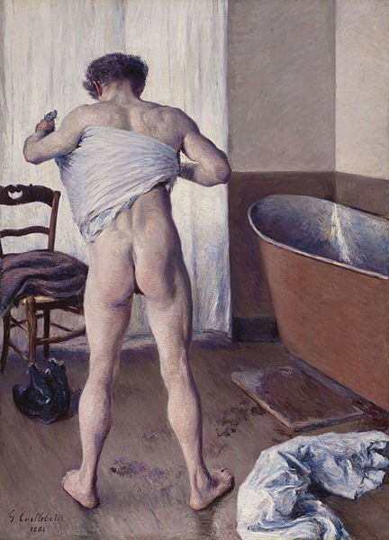 Best Bums in Art,  Gustave Caillebotte, Man at His Bath, 1884, Museum of Fine Arts, Boston, MA, USA.