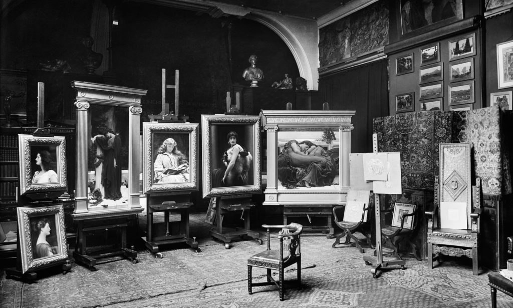 Leighton's last paintings photographed in his studio in 1895. Photograph Bedford Lemere/The Historic England Archive - Leighton House Museum