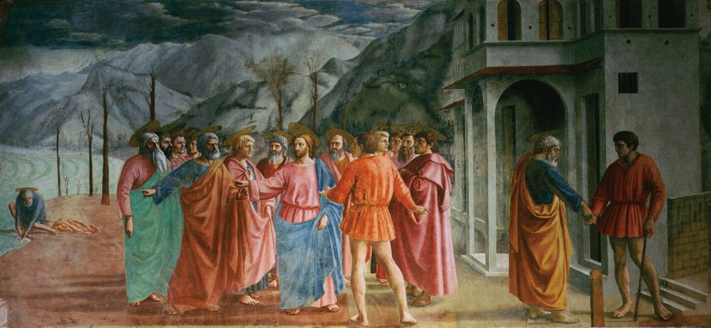 Masaccio, The Tribute Money, 1425, Brancacci Chapel. Florence, Italy