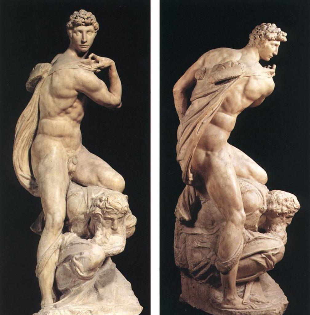 Male body renaissance, Michelangelo Buonarroti, The Genius of Victory, 1532, Palazzo Vecchio, Florence, Italy