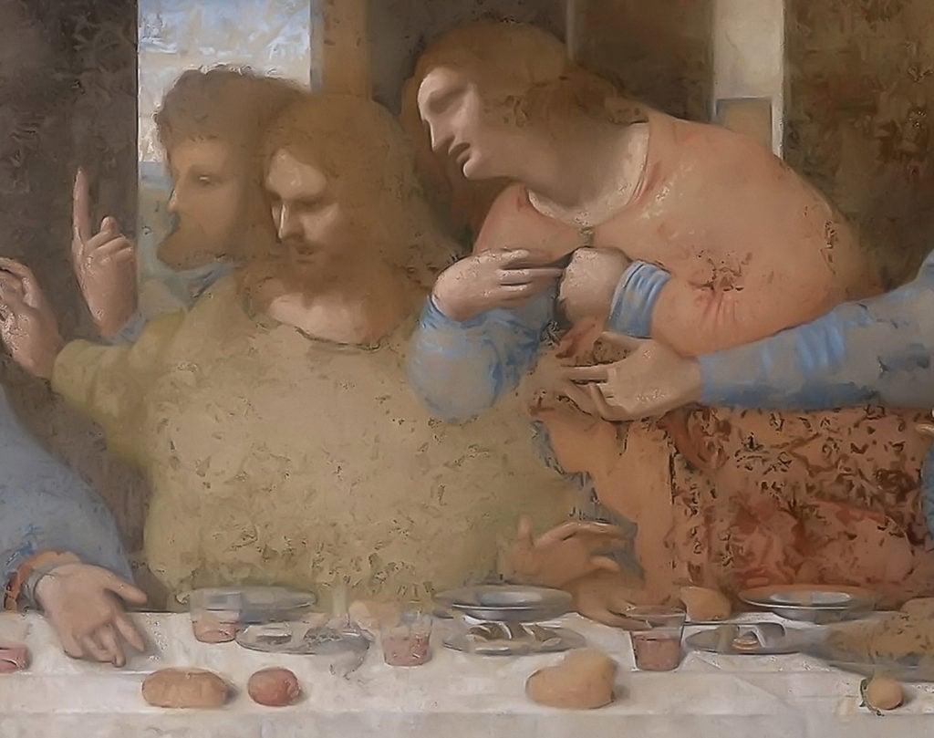 Leonardo da Vinci, The Last Supper, 1495–1498, Santa Maria delle Grazie, Milan, Italy. Detail.