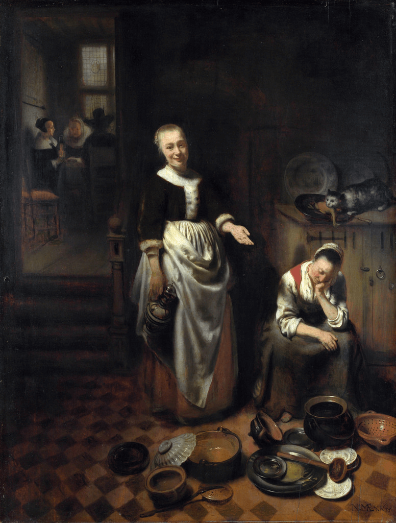 Interior with a Sleeping Maid by Nicolas Maes