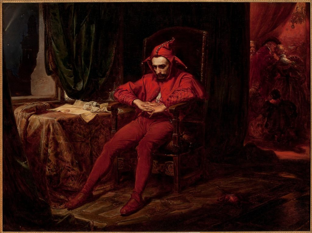 Jan Matejko, Stańczyk (Stańczyk during a ball at the court of Queen Bona in the face of the loss of Smolensk), 1862, National Museum in Warsaw, Warsaw, Poland.