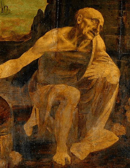 Leonardo's Saint Jerome Praying in the Wilderness detail 1