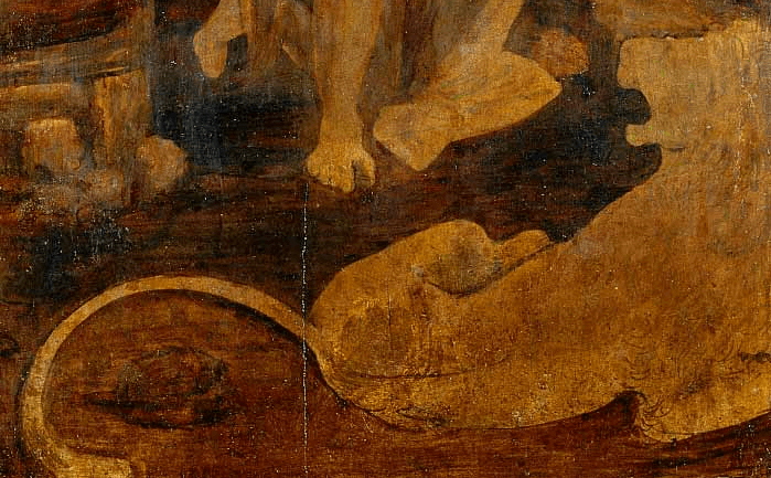 Leonardo's Saint Jerome Praying in the Wilderness detail 2