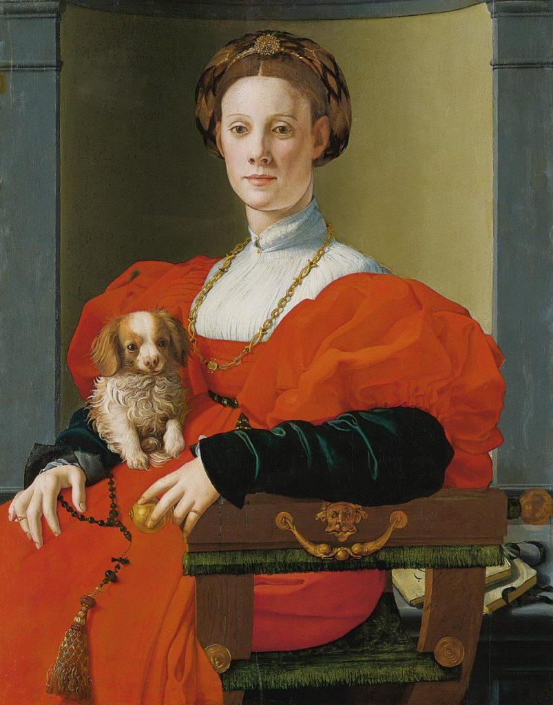 The powerful women from Bronzino portraits: Agnolo Bronzino, Portrait of a Lady with a Lapdog, ca 1533, Städel Museum - Francesca Salviati