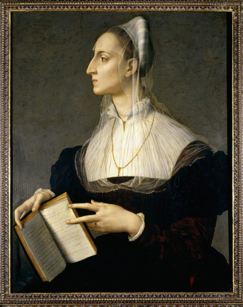 Agnolo Bronzino, Portrait of the poet Laura Battiferri, wife of sculptor Bartolomeo Ammannati, 1550-1555, Palazzo Vecchio, Florence