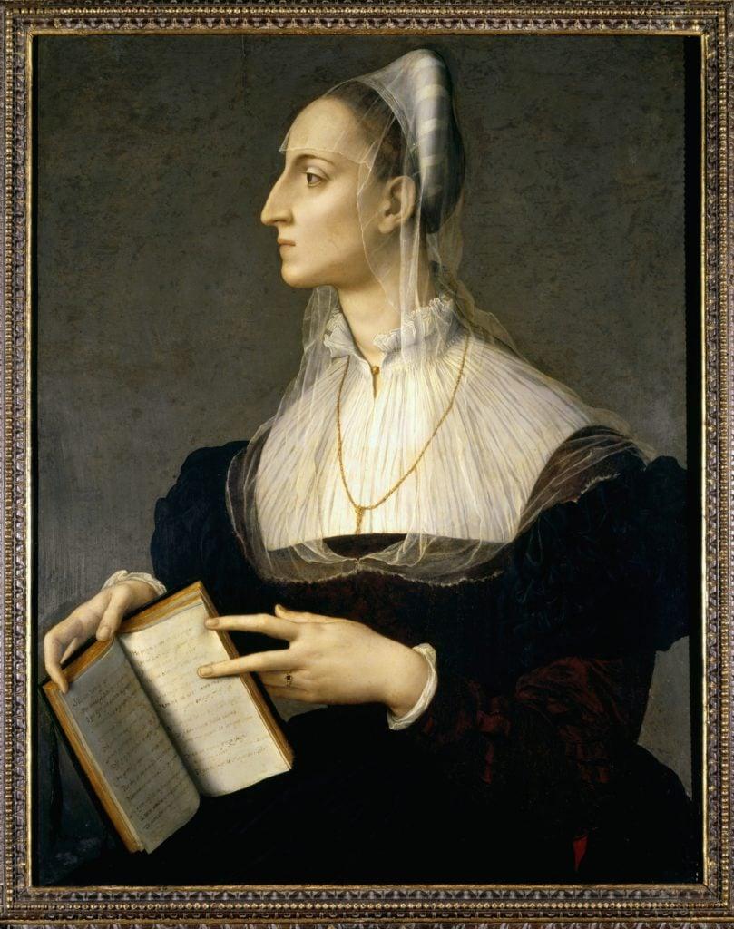 The powerful women from Bronzino portraits: Agnolo Bronzino, Portrait of the poet Laura Battiferri, wife of sculptor Bartolomeo Ammannati, 1550-1555, Palazzo Vecchio, Florence
