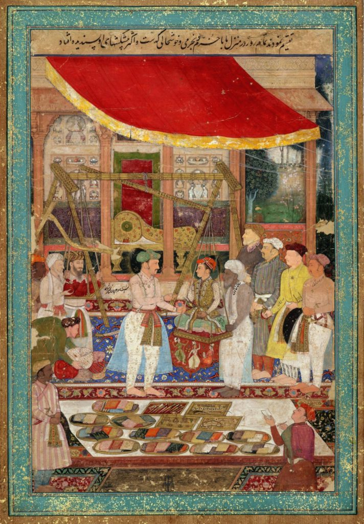 Emperor Jahangir weighs Prince Khurram on his 15th birthday against gold & silver in the presence of Mahabat Khan and Khan Jahan;Mughal Empire
