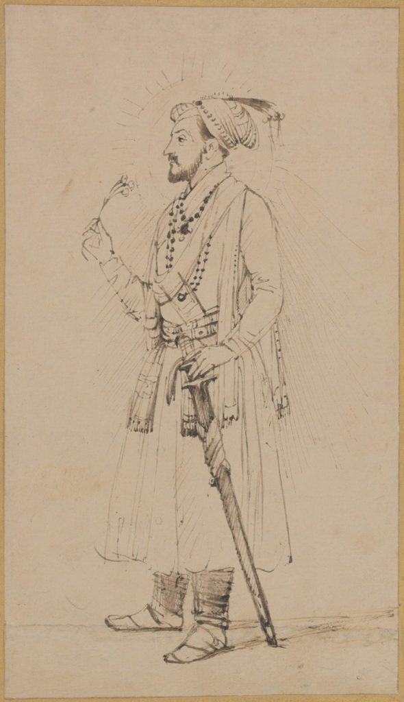 Rembrandt's drawing of Shah Jahan with a flower & sword