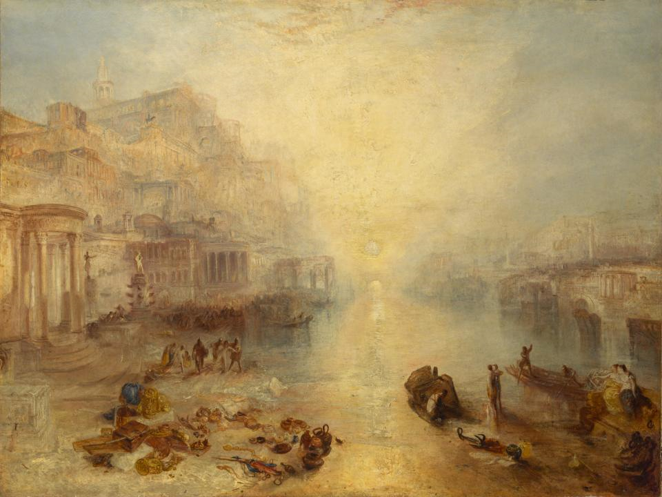 Turner's painting shows a landscape of Rome at sunset. In the foreground are figures, objects and a tomb. The subject is the exile of Ovid; Poetry in Painting