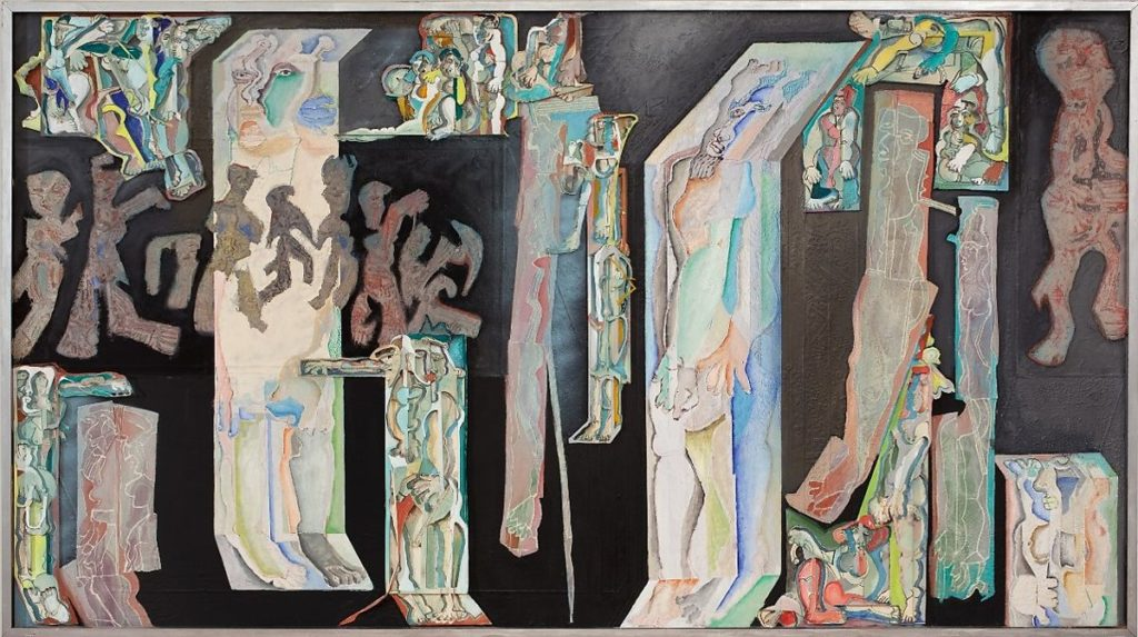 Indian Modern Painters: Mohan Samant, The Temple, 1975–80, cut and folded papers, marker, paint, and sand on canvas, Metropolitan Museum, New York, NY, USA.