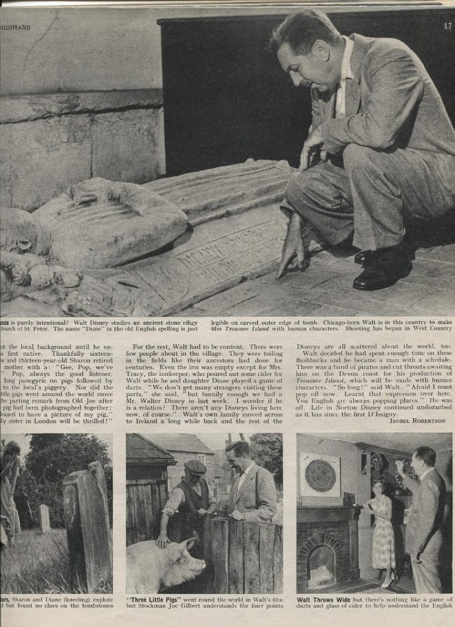 Funerary Art Medieval England, Disney: The cutting from a Norton Disney local magazine from 30 July 1949; feature with Walt Disney's visit to Norton Disney, Lincolnshire, UK. Photo courtesy of Adam Kucharczyk.