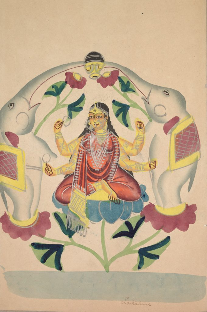 Watercolor painting of Lakshmi