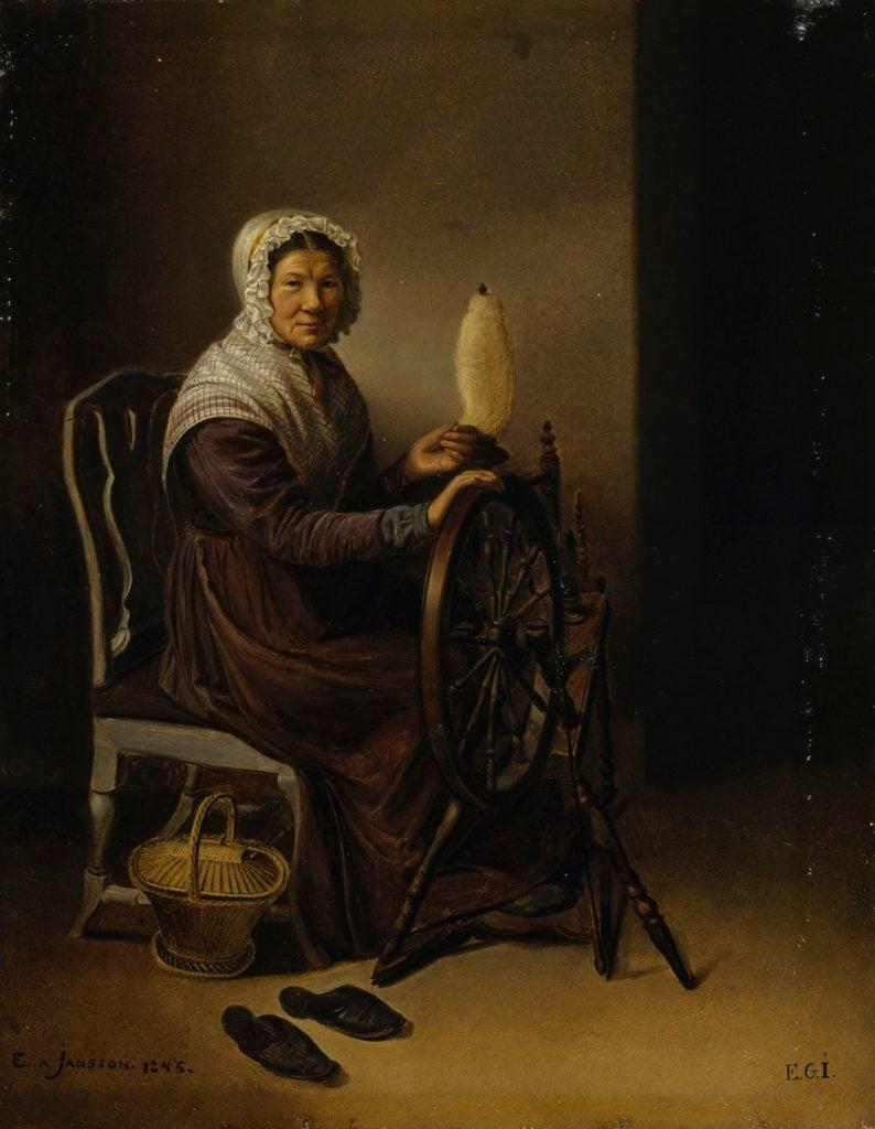 Edla Jansson-Blommér, Old Woman at Spinning Wheel, 1846, Finnish National Gallery, Helsinki, Finland.