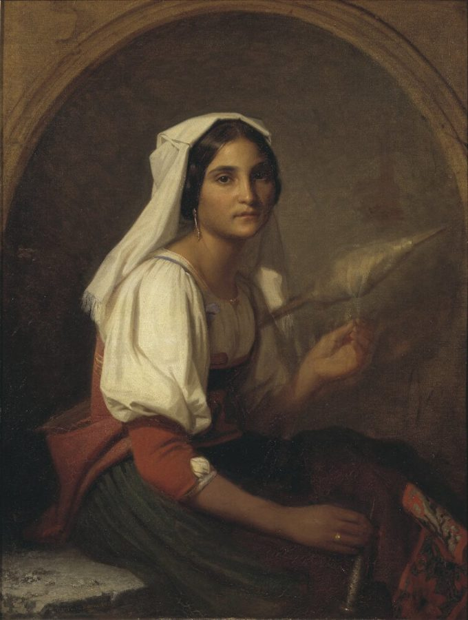 Uno Troili, An Italian Woman Spinning Flax, 1847, Nationalmuseum, Stockholm, Sweden.