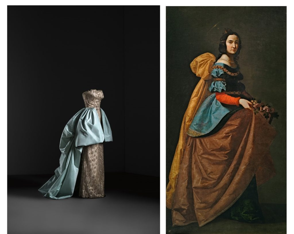 Left: Balenciaga, Dress and overskirt evening ensemble, c.1951, cotton tulle dress embroidered  with metallic thread over rayon satin, silk taffeta overskirt, Museo del Traje, Madrid Ministerio de Cultura y Deporte, Spain.Right: Francisco de Zurbarán, Saint Elisabeth of Portugal, c. 1635, oil on canvas, Museo Nacional del Prado, Madrid, Spain. artistic inspiration of Balenciaga