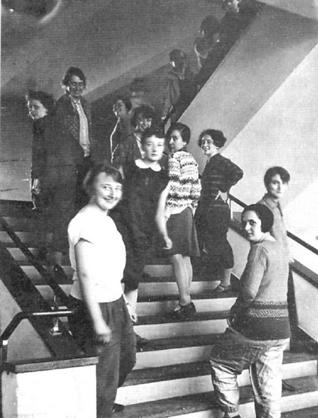 The women of the Bauhaus, posing on the stairs in Dessau.