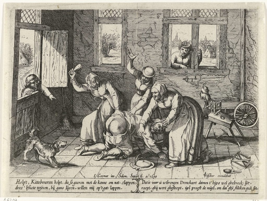 Spinning in art: Salomon Savery (after Joos Goeimare), Man gets a beating from three women, 1610, Rijksmuseum, Amsterdam, Netherlands.