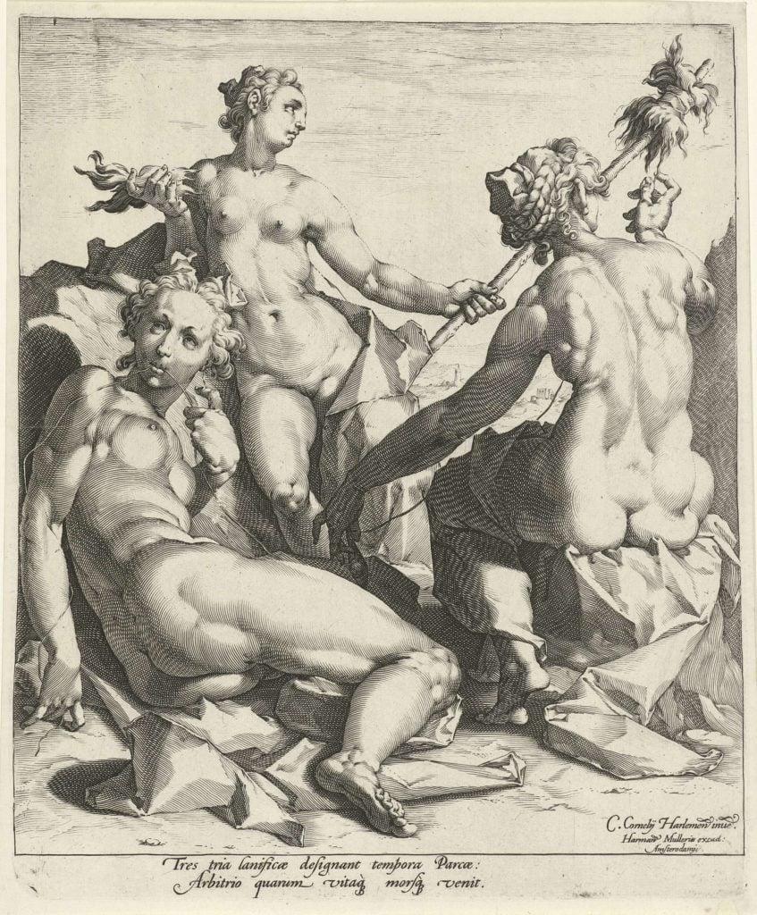 Jan Harmensz. Muller,(after Cornelis Cornelisz. van Haarlem), Three Fates,
