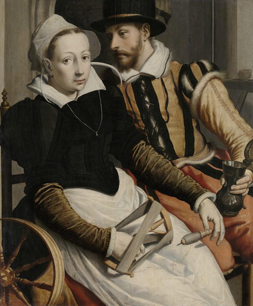 Pieter Pietersz (I), Man and Woman at a Spinning Wheel, 1550, Rijksmuseum, Amsterdam, Netherlands.