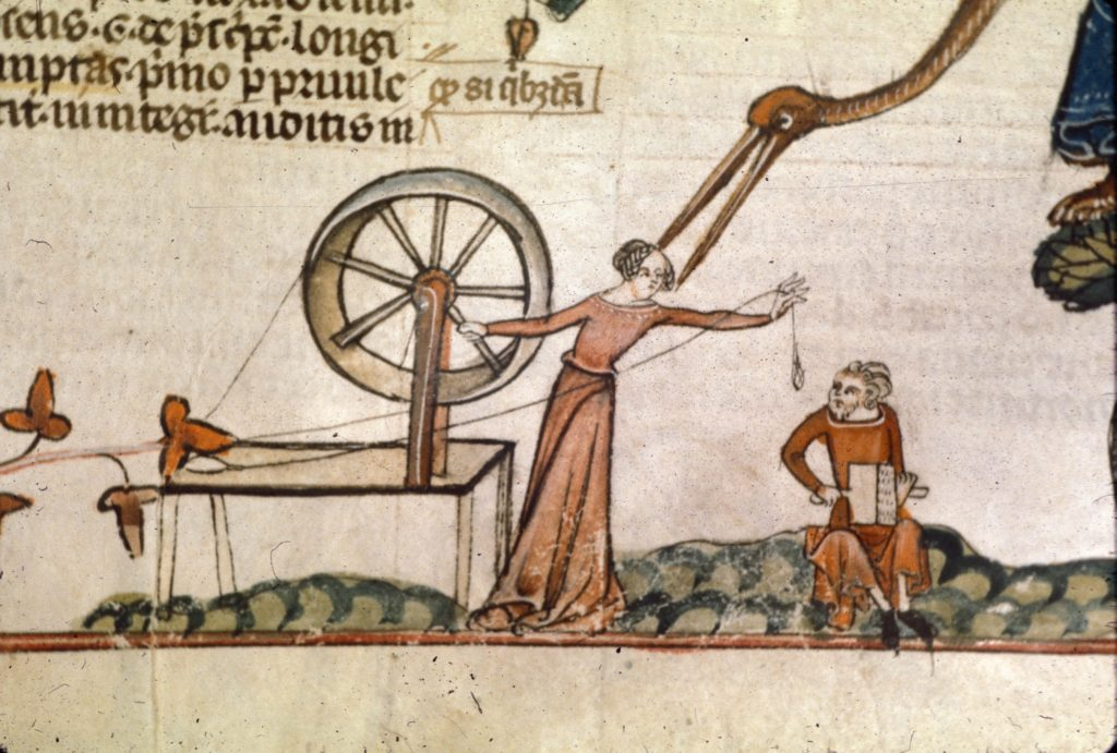 Woman at a spinning wheel with a man seated nearby on the ground, and a monstrous bird in a tree, date unknown, French provenience.